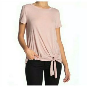 SUSINA Pink Adobe tie front top sz petite M